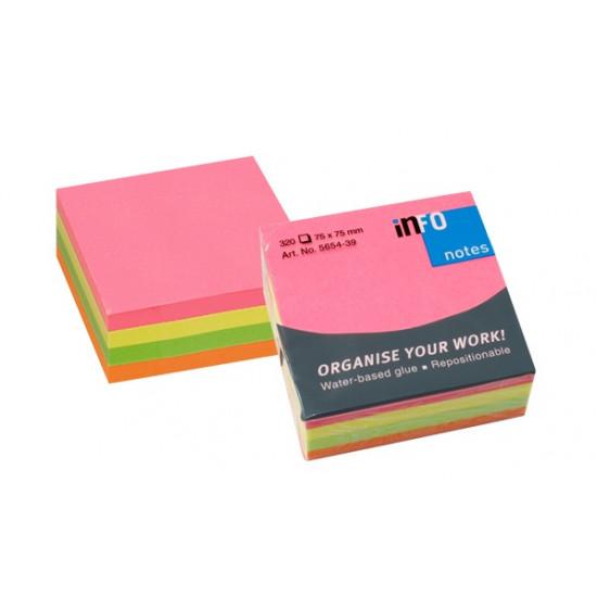 Самозалепващо кубче 75 х 75 мм, 4 цвята NEON